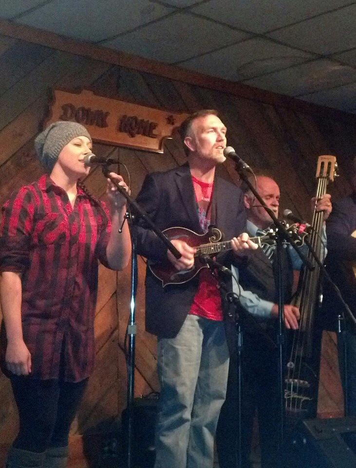 "Singing ""Change of Faith in Tennessee"" at Down Home. I am singing harmony on their album ""The Game""!"
